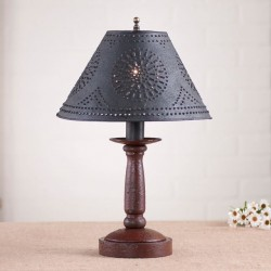 Butcher's Primitive Table Lamp in Americana Red with Textured Black Tin Shade