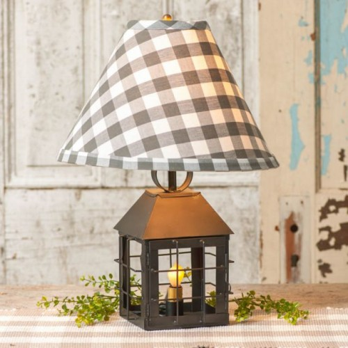 Colonial Lantern Table Lamp with Gray Check Shade