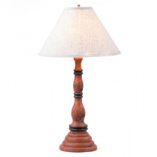 Davenport Lamp in Hartford Pumpkin with Linen Ivory Shade