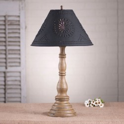Davenport Lamp in Americana Pearwood with Textured Black Tin Shade