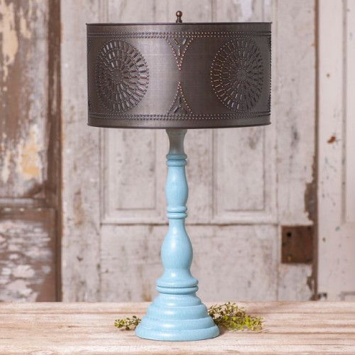 Davenport Lamp in Misty Blue with Shade