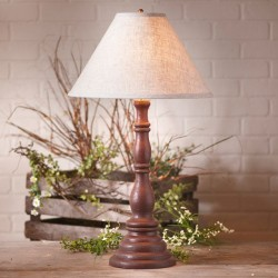 Davenport Lamp in Americana Red with Linen Ivory Shade