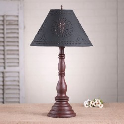 Davenport Lamp in Americana Red with Textured Black Tin Shade