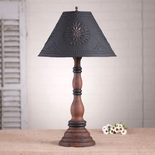 Davenport Lamp in Hartford Pumpkin with Textured Black Tin Shade