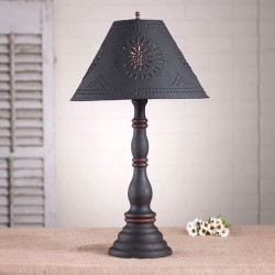 Davenport Lamp in Hartford Black with Red with Textured Black Tin Shade
