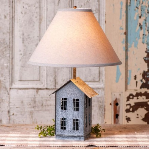 House Lamp with Ivory Linen Shade
