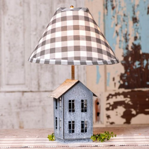 House Lamp with Gray Check Shade