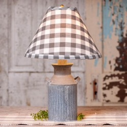 Milk Jug Lamp with Gray Check Shade