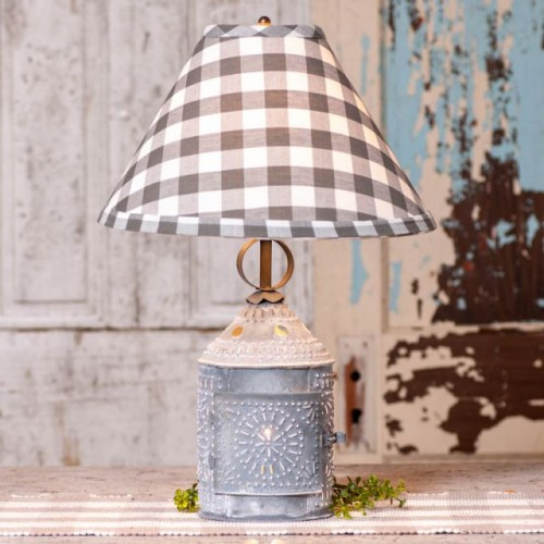 Paul Revere Lamp with Gray Check Shade