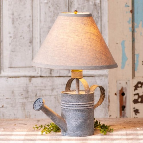 Watering Can Lamp with Ivory Linen Shade
