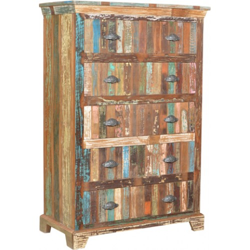 Lynn Distressed 6 Drawer Tall Chest - Natural