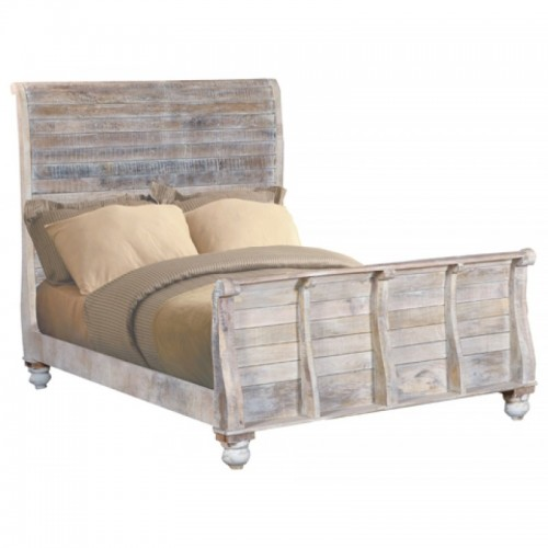 Jeane Distressed White Queen Bed