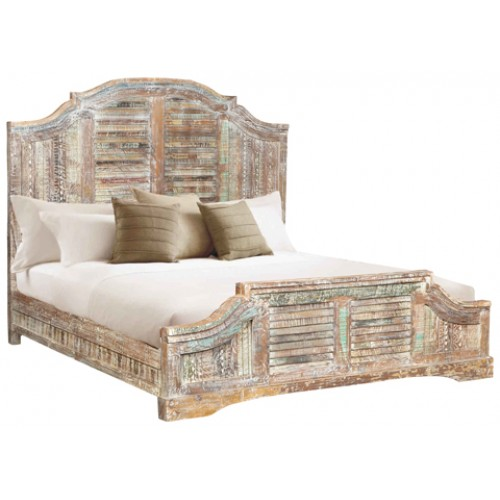 Lynn Carved Rustic Queen Bed - Antique White