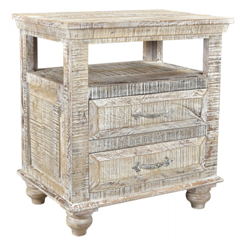Jeane Distressed 2 Drawer Farmhouse Nightstand Country