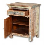 Lynn Distressed 1 Drawer 1 Door Carved Farmhouse Nightstand