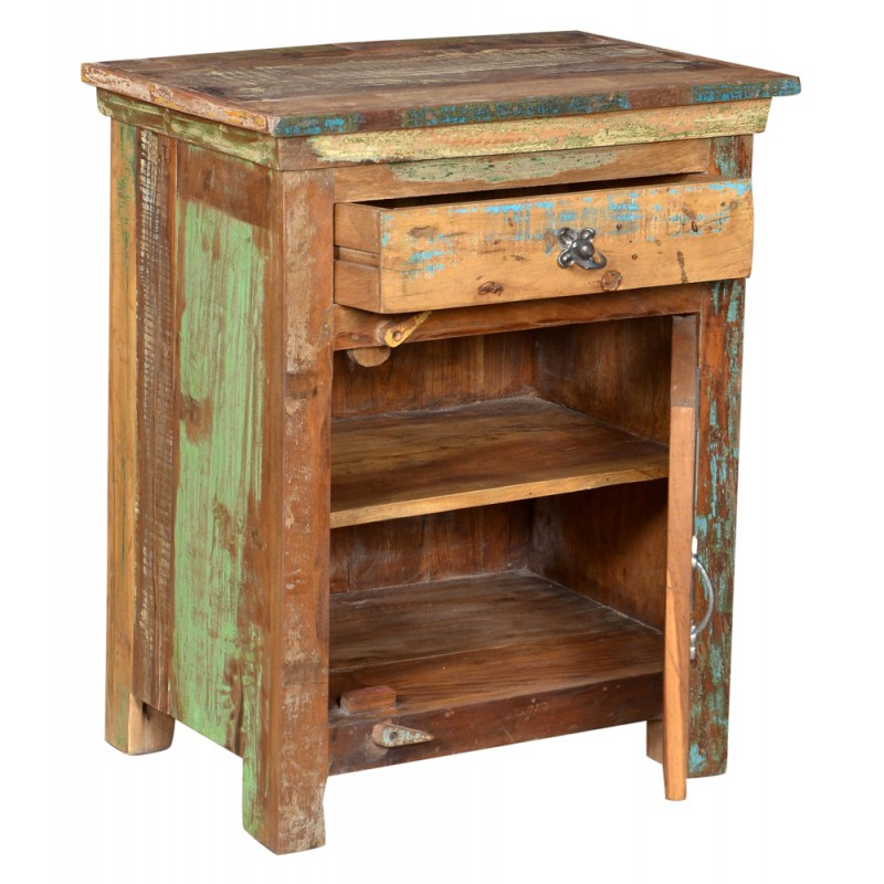 Lynn Distressed 1 Drawer 1 Door Carved Farmhouse