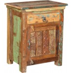 Lynn Distressed 1 Drawer 1 Door Carved Farmhouse Nightstand - Natural