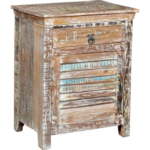Lynn Distressed 1 Drawer 1 Door Shutter Farmhouse Nightstand