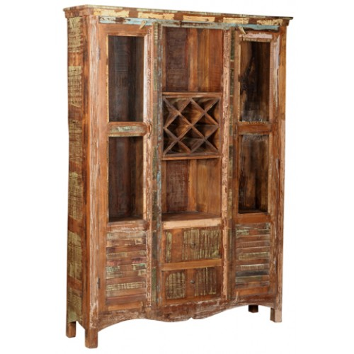 Lynn Glass Shutter Rustic Bookcase With Wine Rack- Natural