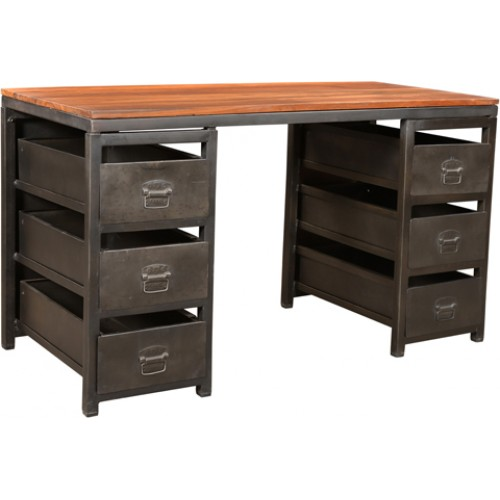 Holliday 6 Drawer Iron Writing Desk With Wood Top