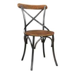 Adamsville Cross Back Metal Chair With Round Wood Seat & Back