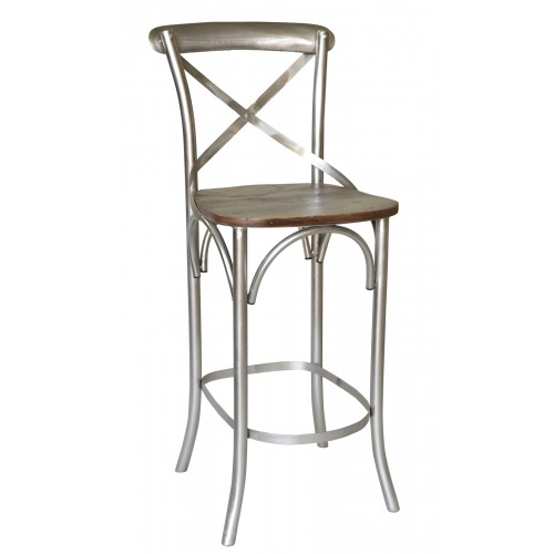 Adamsville Cross Back Bar Chair With Wood Seat