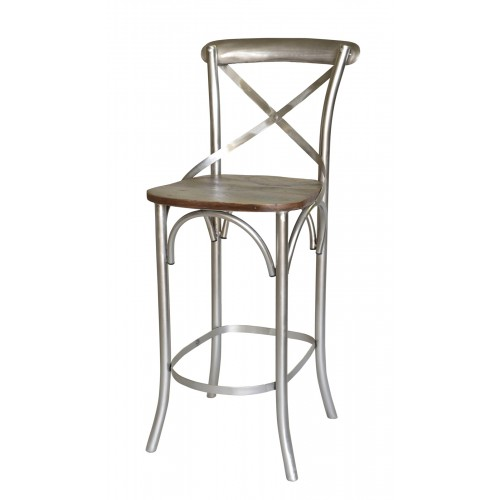 Adamsville Cross Back Counter Height Chair With Wood Seat