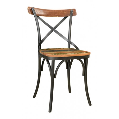 Adamsville Cross Back Metal Side Chair With Wood Seat & Back