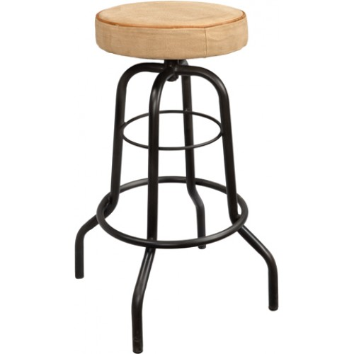 Holliday Iron Pipe Base Counter Stool With Canvas Seat (seat Size 14 1/2)