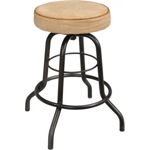 Holliday Iron Pipe Base Bar Stool With Canvas Seat(seat Size 14 1/2)