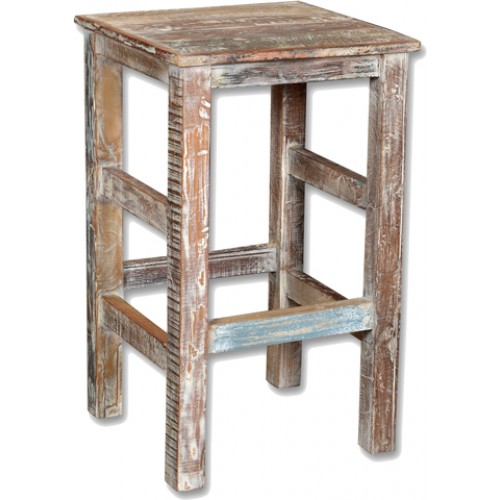 Loraine Distressed Reclaimed Wood Bar Stool