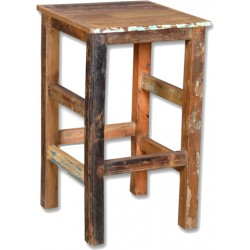 Loraine Distressed Reclaimed Wooden Bar Stool - Natural
