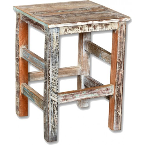 Loraine Distressed Recycled Wood Counter Stool