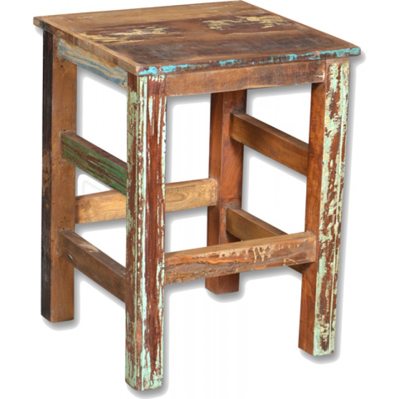 Loraine Distressed Recycled Wood Counter Stool Natural