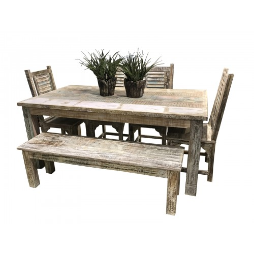 Lynn Farmhouse Dining Table Set 84""
