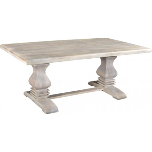 "Rockwell Pedestal Farm Table 76"" - Antique White"