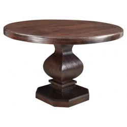 "Rockwell Pedestal Round Dining Table 48""- Brown"