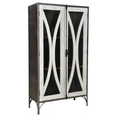 Cooper 2 Glass Door Iron Farmhouse Cabinet