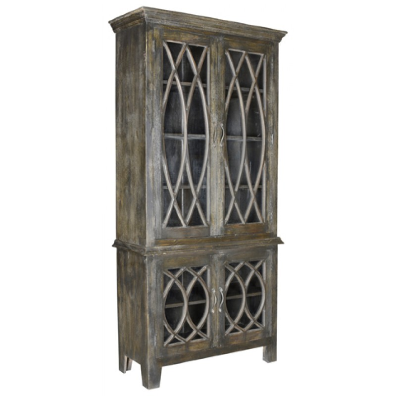 Wilmington Gl Door Tall Cabinet Antique Brown Countryvintagehome