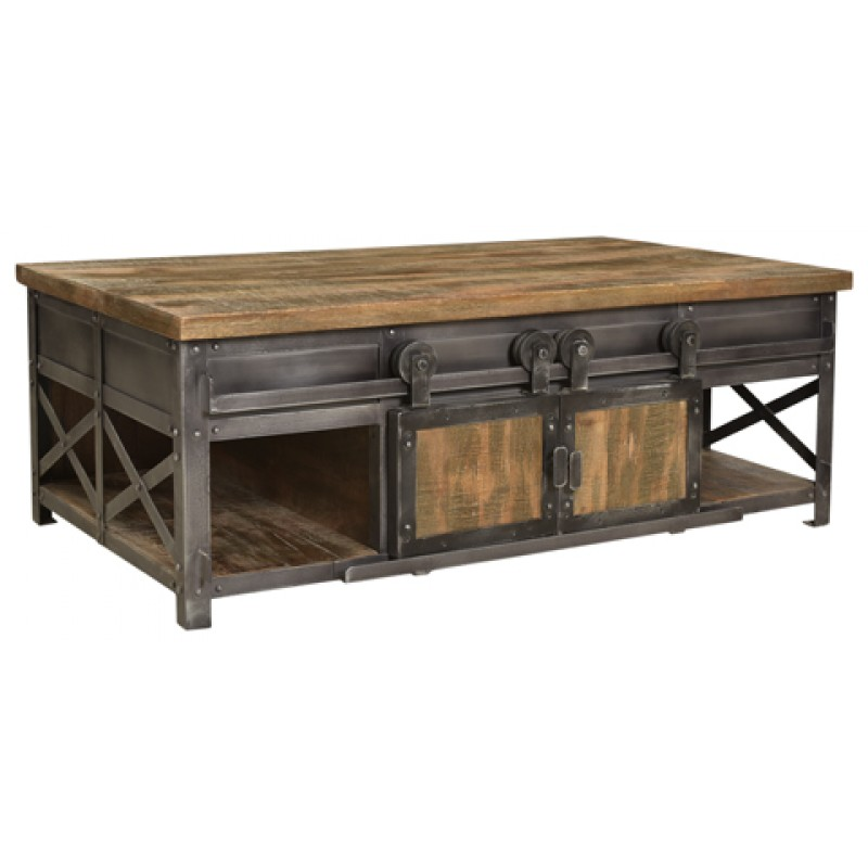 Lane Sliding Door Coffee Table: Cooper 4 Sliding Door Farmhouse Coffee Table