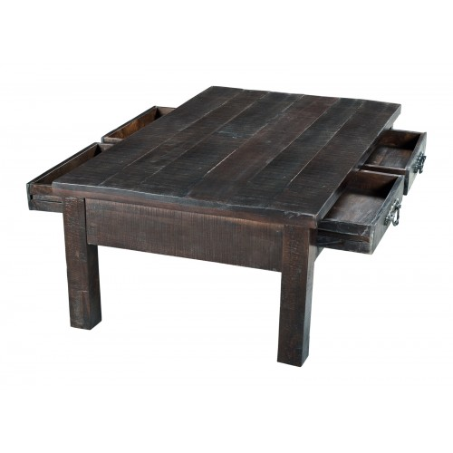 Jeane Rustic Coffee Table With 4 Drawers-Brown