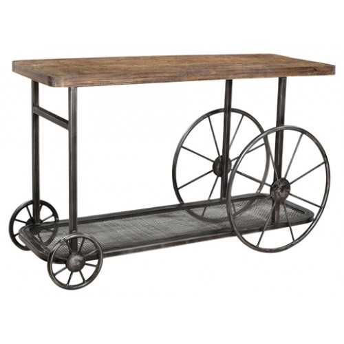 Cooper Farmhouse Console Table With Wheels