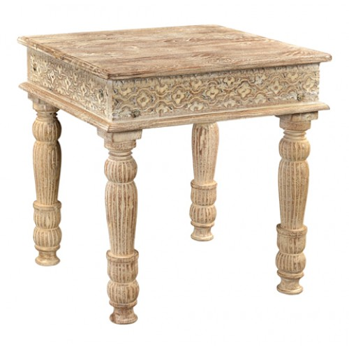 Loraine Carved Teak End Table - Sand White