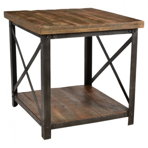 Cooper Farmhouse End Table With Shelve