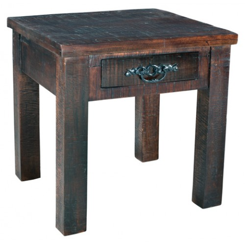 Jeane Farmhouse End Table With Drawer