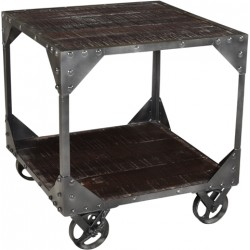 Jeane Iron Frame End Table - Brown