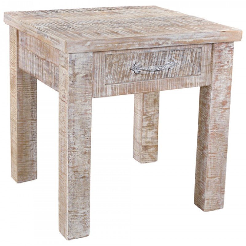 Rustic End Table With Drawer - Antique White