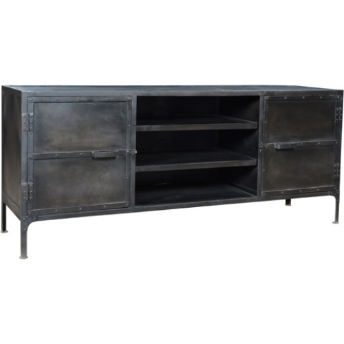 Holliday 2 Door Iron TV Stand- Dark Gray