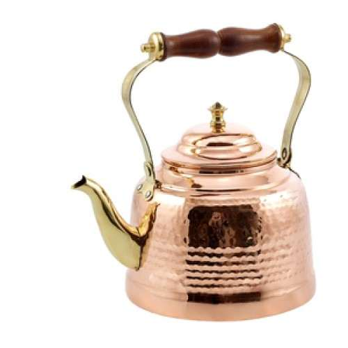 2 Qt. Solid Copper Hammered Tea Kettle with Brass Spout/Knob and Wooden Handle