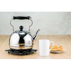 2 Qt. Stainless Steel Hammered Teakettle with Wood Handle